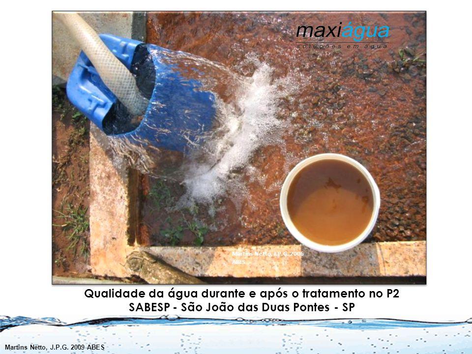 Qualidade da água durante e após o tratamento no P2 SABESP - São João das Duas Pontes - SP Martins Netto, J.P.G.