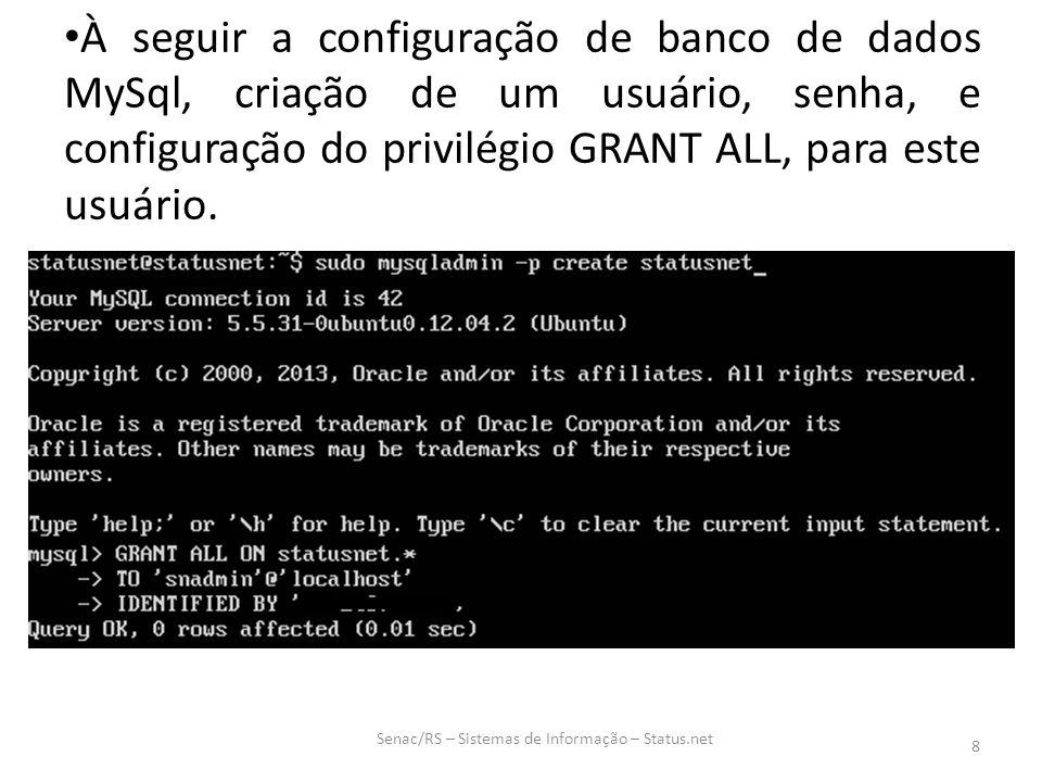 À seguir a configuração de banco de dados MySql, criação de um usuário, senha, e configuração do privilégio GRANT ALL, para este usuário. Senac/RS – S