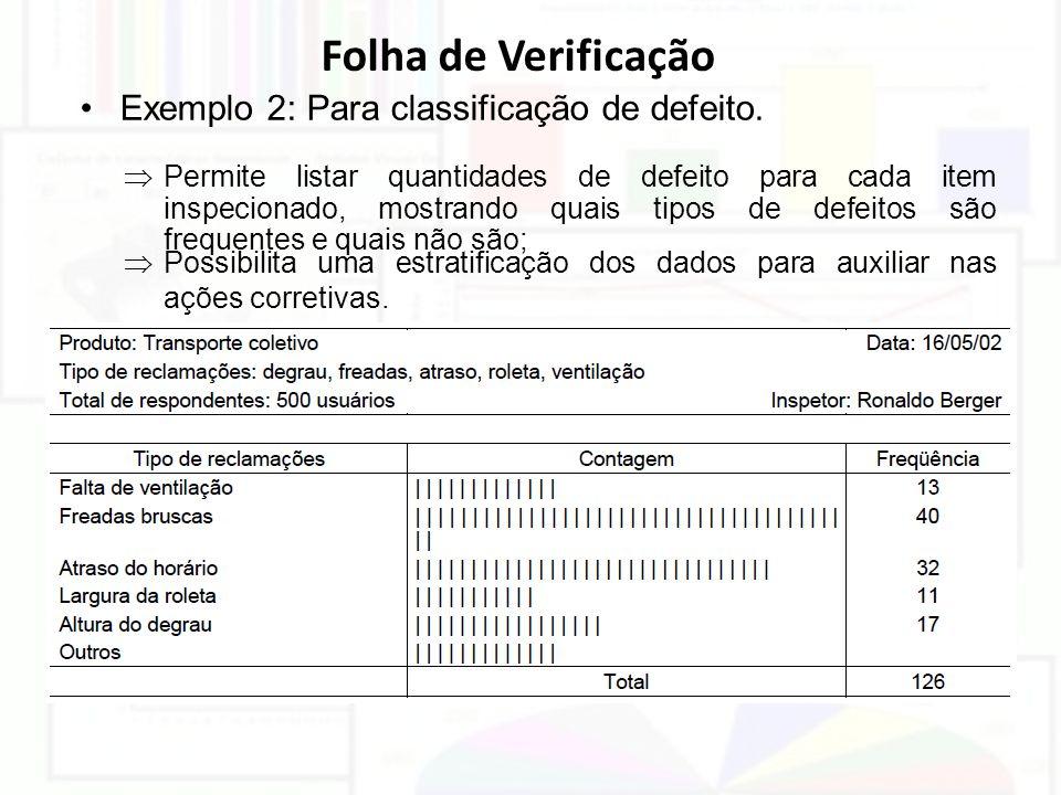 Folha de Verificação Exemplo 2: Para classificação de defeito.  Permite listar quantidades de defeito para cada item inspecionado, mostrando quais ti