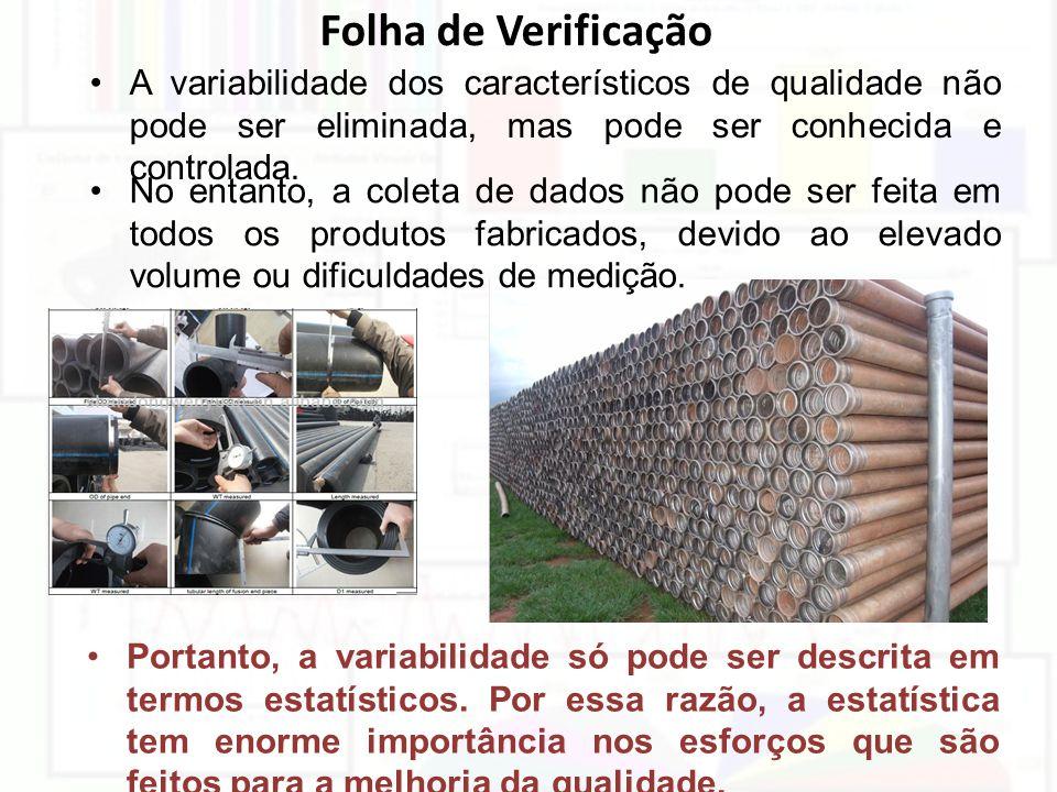 Folha de Verificação A variabilidade dos característicos de qualidade não pode ser eliminada, mas pode ser conhecida e controlada. No entanto, a colet