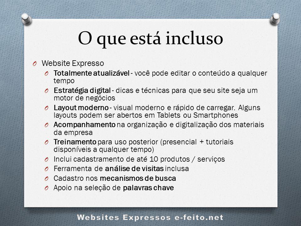O que está incluso O Website Expresso O Totalmente atualizável - você pode editar o conteúdo a qualquer tempo O Estratégia digital - dicas e técnicas