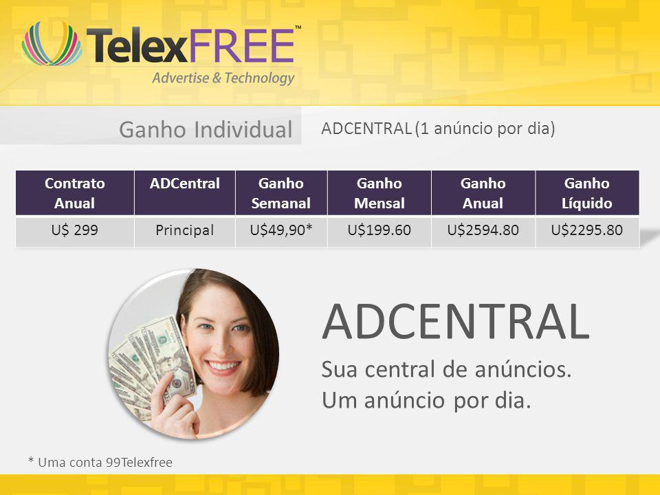 Ganho Individual ADCENTRAL (1 anúncio por dia) * Uma conta 99Telexfree ADCENTRAL Sua central de anúncios. Um anúncio por dia.