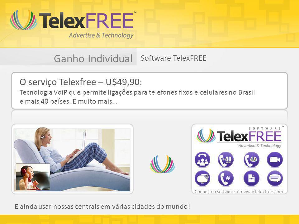 Ganho Individual Software TelexFREE O serviço Telexfree – U$49,90: Tecnologia VoiP que permite ligações para telefones fixos e celulares no Brasil e mais 40 países.