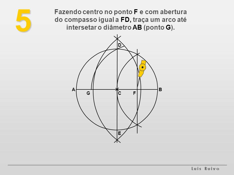E D BA FG5 Fazendo centro no ponto F e com abertura do compasso igual a FD, traça um arco até intersetar o diâmetro AB (ponto G).