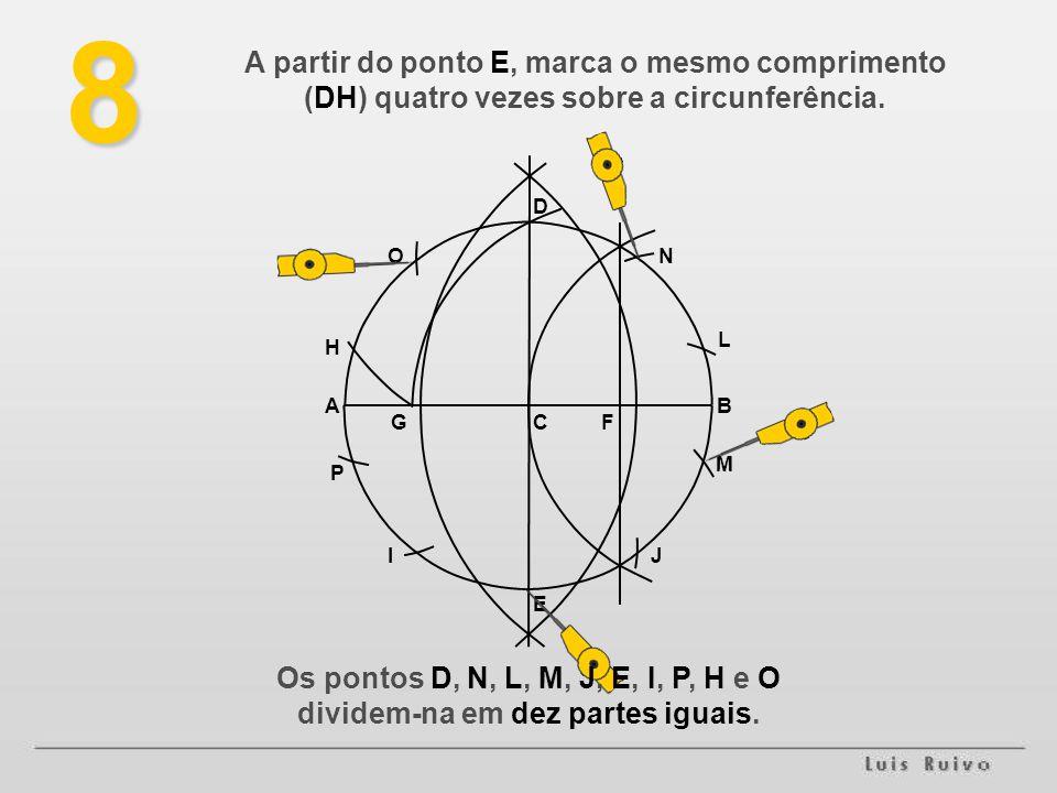 8 C E D BA FG H L JI P O M N Os pontos D, N, L, M, J, E, I, P, H e O dividem-na em dez partes iguais.