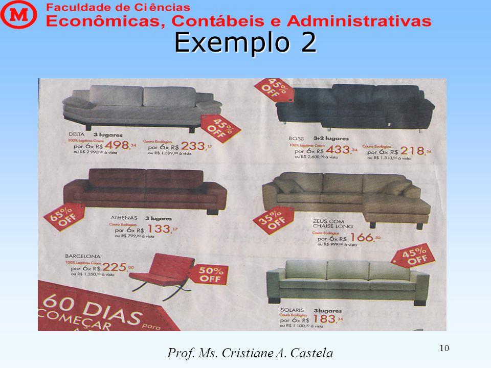 10 Exemplo 2 Prof. Ms. Cristiane A. Castela