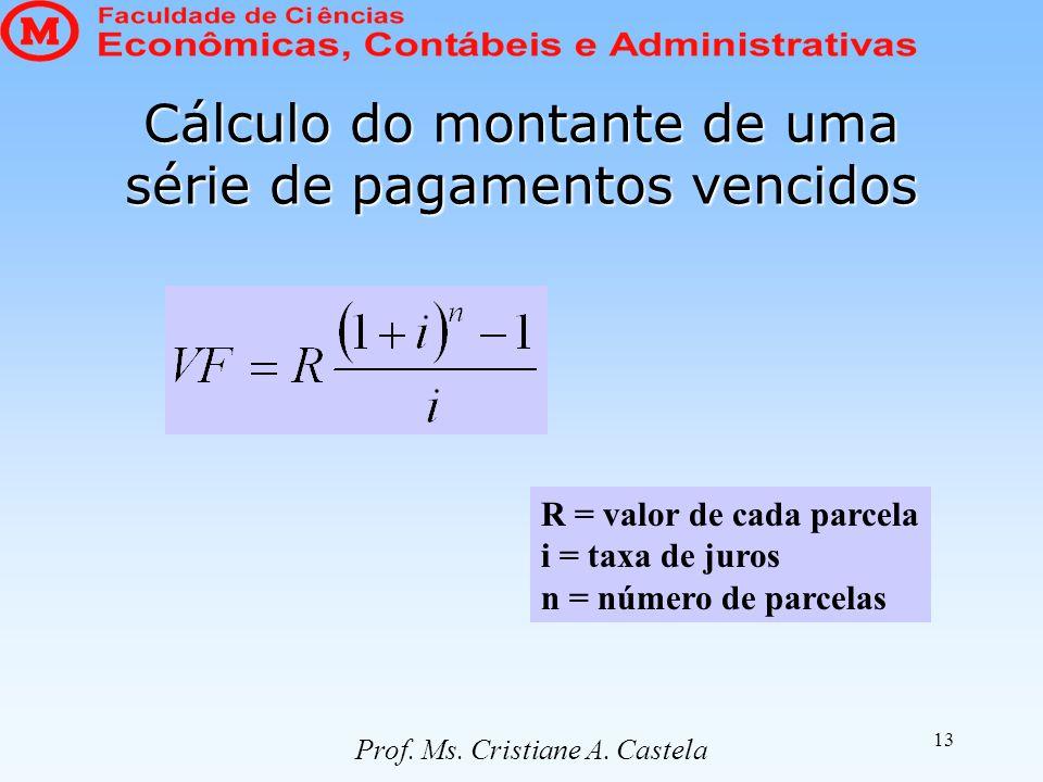 13 Cálculo do montante de uma série de pagamentos vencidos R = valor de cada parcela i = taxa de juros n = número de parcelas Prof. Ms. Cristiane A. C