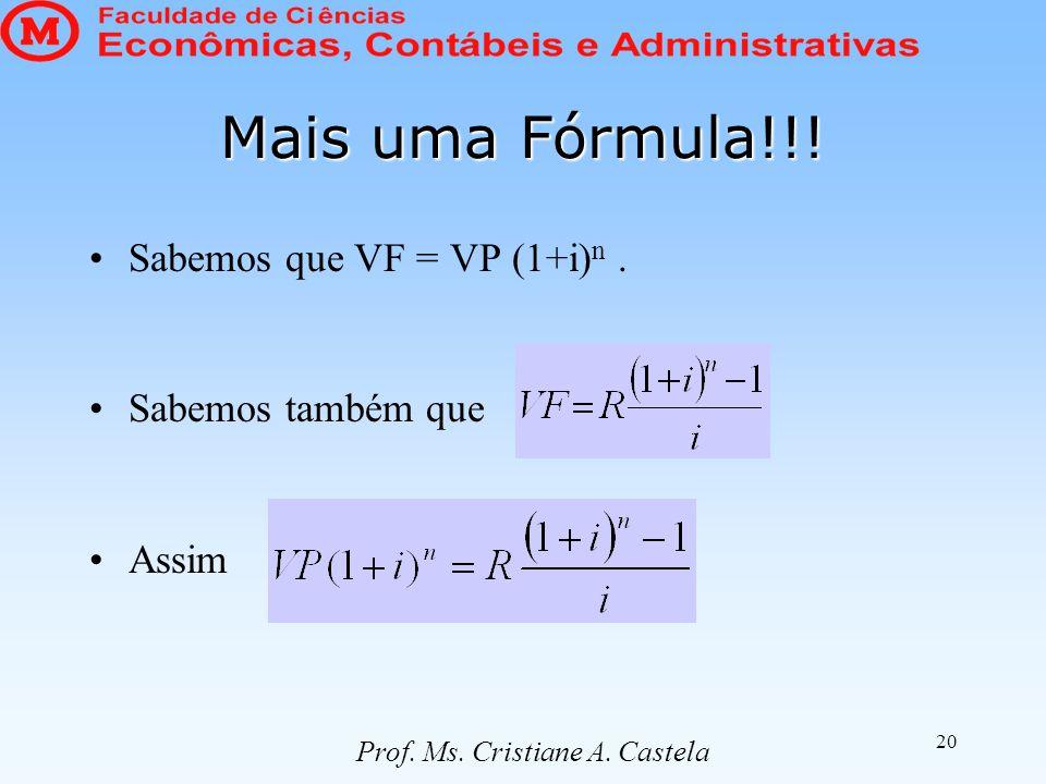 20 Mais uma Fórmula!!! Sabemos que VF = VP (1+i) n. Sabemos também que Assim Prof. Ms. Cristiane A. Castela