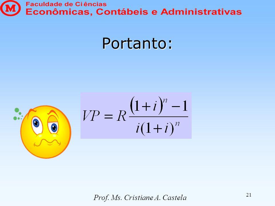 21 Portanto: Prof. Ms. Cristiane A. Castela