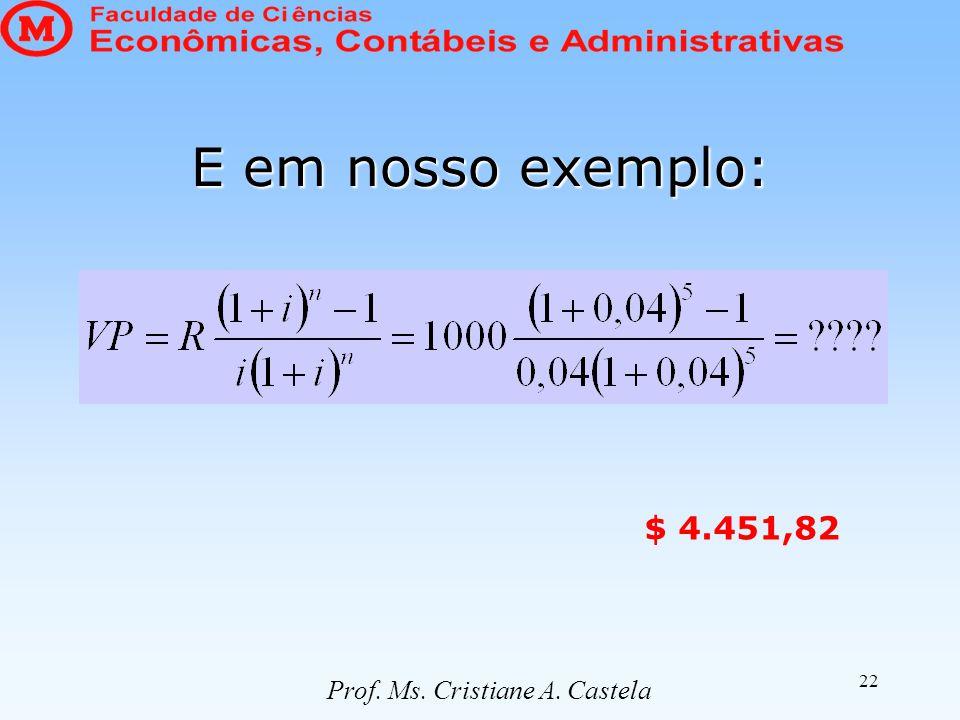 22 E em nosso exemplo: Prof. Ms. Cristiane A. Castela $ 4.451,82