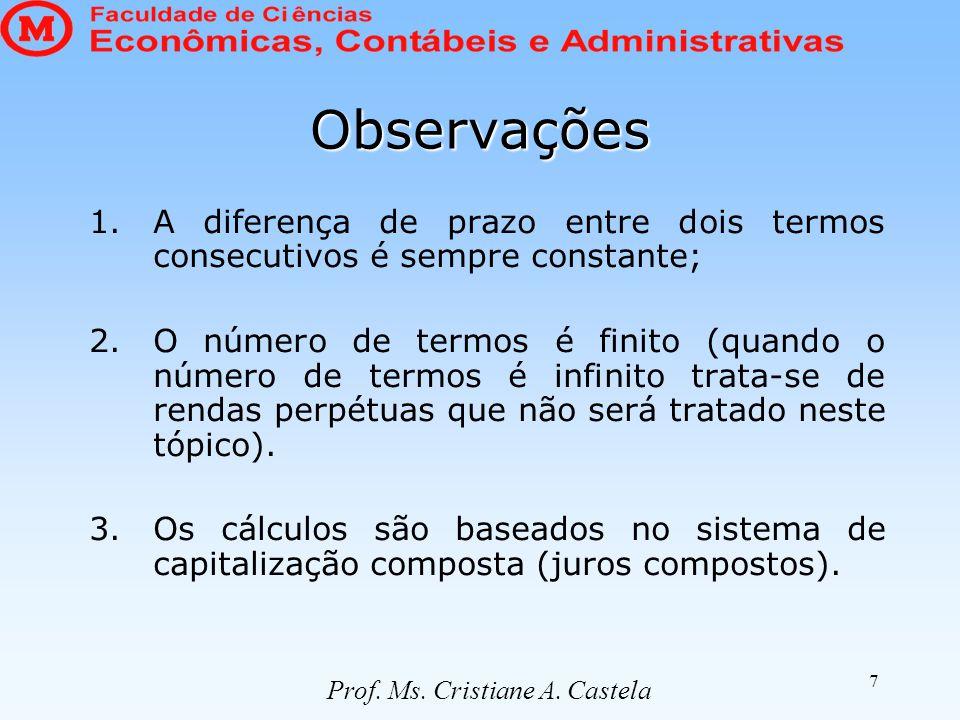 7 Observações 1.A diferença de prazo entre dois termos consecutivos é sempre constante; 2.O número de termos é finito (quando o número de termos é infinito trata-se de rendas perpétuas que não será tratado neste tópico).