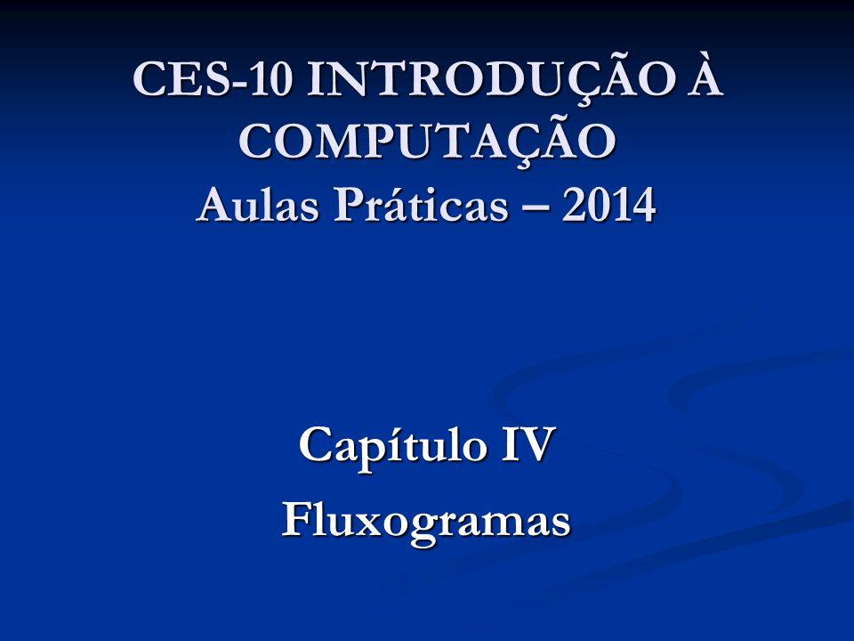 CES-10 INTRODUÇÃO À COMPUTAÇÃO Aulas Práticas – 2014 Capítulo IV Fluxogramas