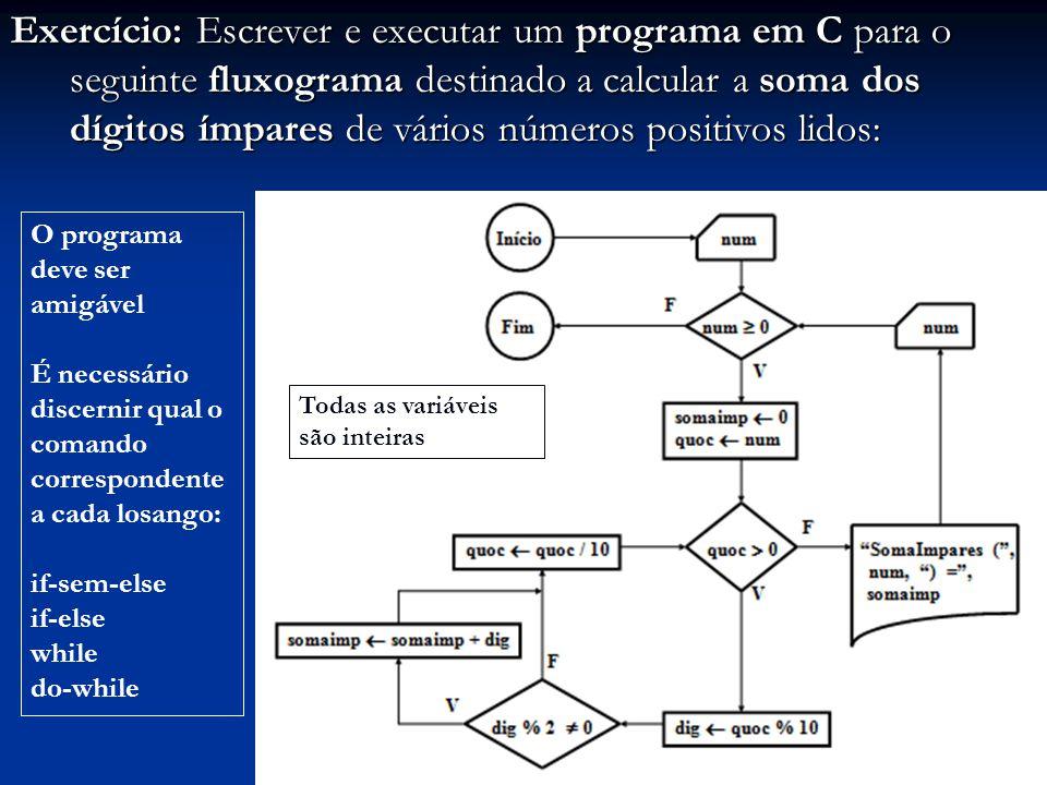 Exercício: Escrever e executar um programa em C para o seguinte fluxograma destinado a calcular a soma dos dígitos ímpares de vários números positivos