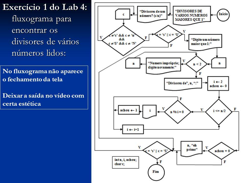 Exercício 1 do Lab 4: fluxograma para encontrar os divisores de vários números lidos: No fluxograma não aparece o fechamento da tela Deixar a saída no