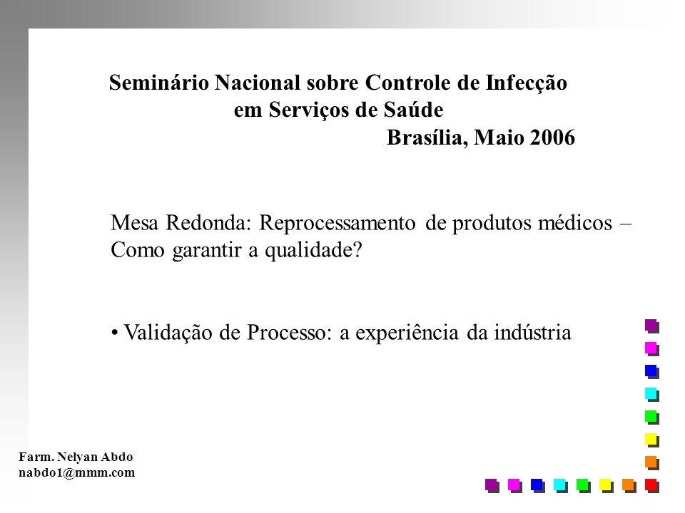 Seminário Nacional sobre Controle de Infecção em Serviços de Saúde Brasília, Maio 2006 Mesa Redonda: Reprocessamento de produtos médicos – Como garant