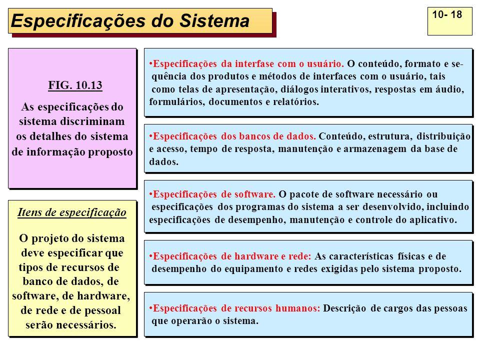 10- 18 Especificações do Sistema FIG. 10.13 As especificações do sistema discriminam os detalhes do sistema de informação proposto FIG. 10.13 As espec