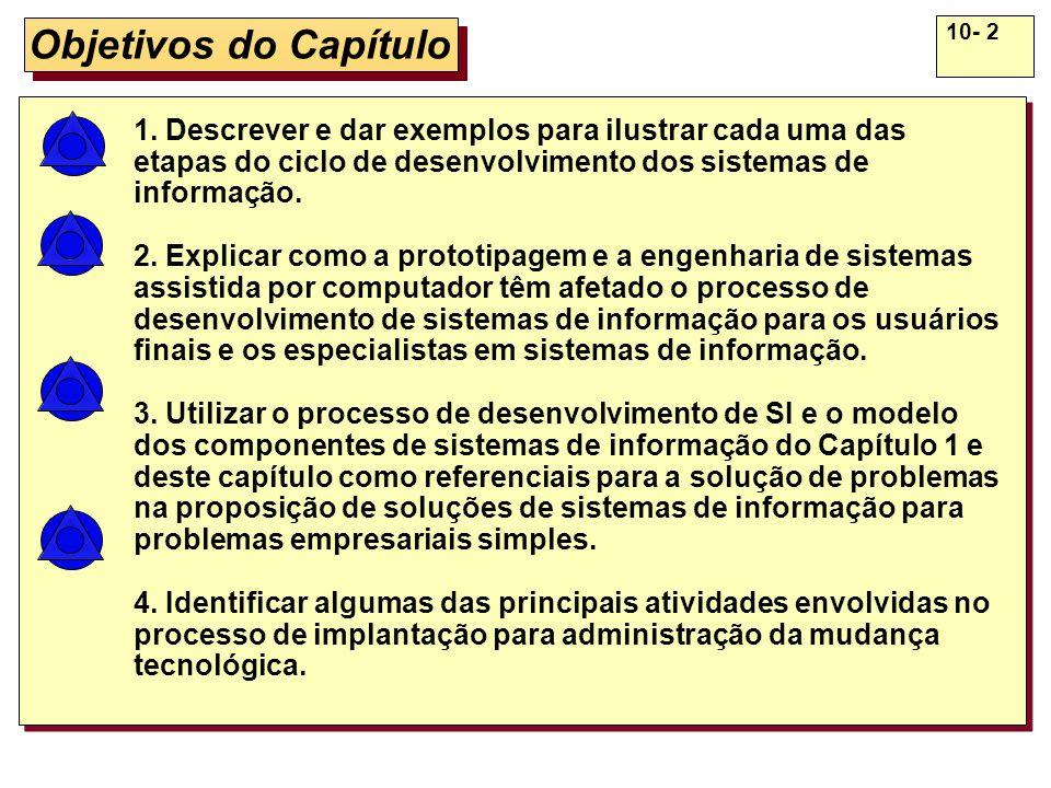 10- 2 Objetivos do Capítulo 1. Descrever e dar exemplos para ilustrar cada uma das etapas do ciclo de desenvolvimento dos sistemas de informação. 2. E