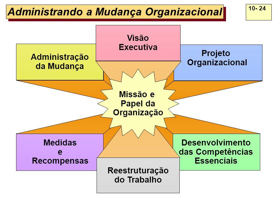 10- 24 Administrando a Mudança Organizacional Administração da Mudança Medidas e Recompensas Projeto Organizacional Desenvolvimento das Competências E