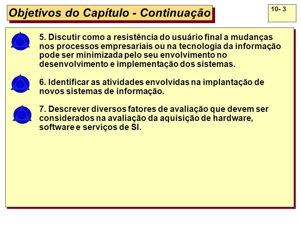 10- 3 Objetivos do Capítulo - Continuação 5. Discutir como a resistência do usuário final a mudanças nos processos empresariais ou na tecnologia da in