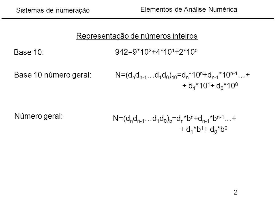 Elementos de Análise Numérica Sistemas de numeração Representação de números inteiros 942=9*10 2 +4*10 1 +2*10 0 Base 10: Base 10 número geral:N=(d n d n-1 …d 1 d 0 ) 10 =d n *10 n +d n-1 *10 n-1 …+ + d 1 *10 1 + d 0 *10 0 Número geral: N=(d n d n-1 …d 1 d 0 ) b =d n *b n +d n-1 *b n-1 …+ + d 1 *b 1 + d 0 *b 0 2