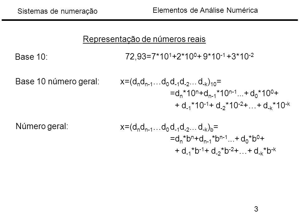 Elementos de Análise Numérica Sistemas de numeração Representação de números reais 72,93=7*10 1 +2*10 0 + 9*10 -1 +3*10 -2 Base 10: Base 10 número geral:x=(d n d n-1 …d 0 d -1 d -2...