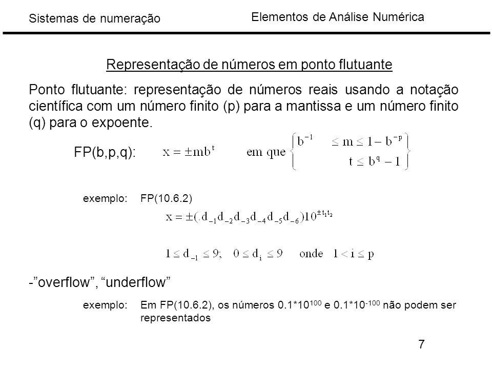 Elementos de Análise Numérica Sistemas de numeração Representação de números em ponto flutuante Ponto flutuante: representação de números reais usando a notação científica com um número finito (p) para a mantissa e um número finito (q) para o expoente.