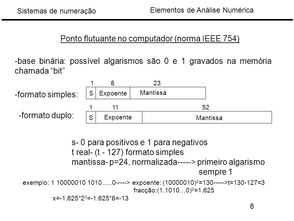 Elementos de Análise Numérica Sistemas de numeração Ponto flutuante no computador (norma IEEE 754) -base binária: possível algarismos são 0 e 1 gravados na memória chamada bit -formato simples: -formato duplo: S Expoente Mantissa 1823 S Expoente Mantissa 11152 s- 0 para positivos e 1 para negativos t real- (t - 127) formato simples mantissa- p=24, normalizada-----> primeiro algarismo sempre 1 exemplo: 1 10000010 1010…..0-----> expoente: (10000010) 2 =130----->t=130-127=3 fracção:(1.1010…0) 2 =1.625 x=-1.625*2 3 =-1.625*8=-13 8