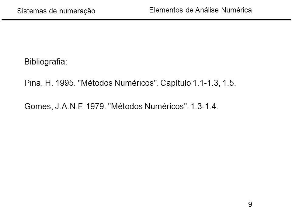 Elementos de Análise Numérica Sistemas de numeração Bibliografia: Pina, H.