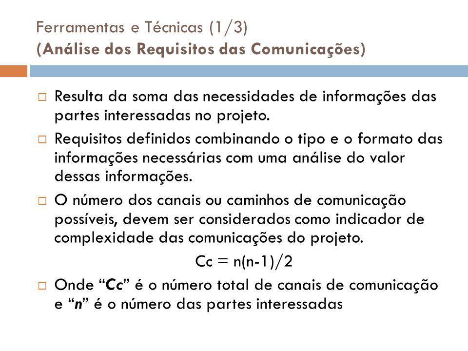 Ferramentas e Técnicas (1/3) (Análise dos Requisitos das Comunicações)  Resulta da soma das necessidades de informações das partes interessadas no projeto.