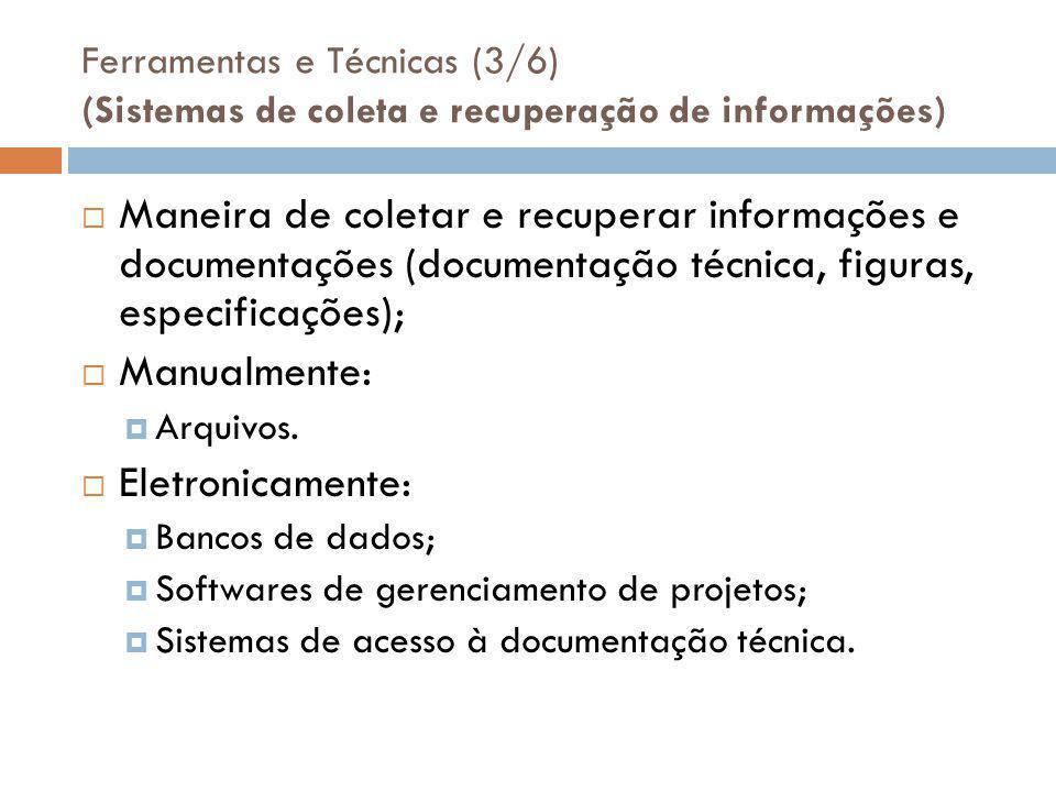 Ferramentas e Técnicas (3/6) (Sistemas de coleta e recuperação de informações)  Maneira de coletar e recuperar informações e documentações (documentação técnica, figuras, especificações);  Manualmente:  Arquivos.