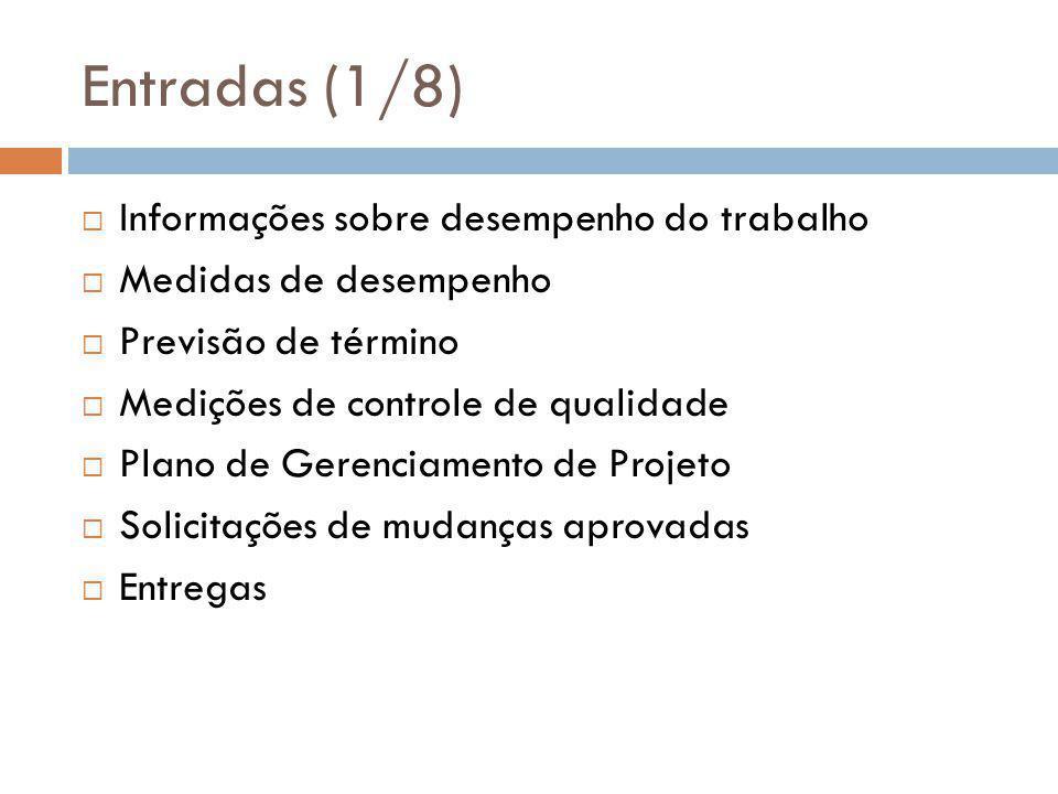Entradas (1/8)  Informações sobre desempenho do trabalho  Medidas de desempenho  Previsão de término  Medições de controle de qualidade  Plano de Gerenciamento de Projeto  Solicitações de mudanças aprovadas  Entregas