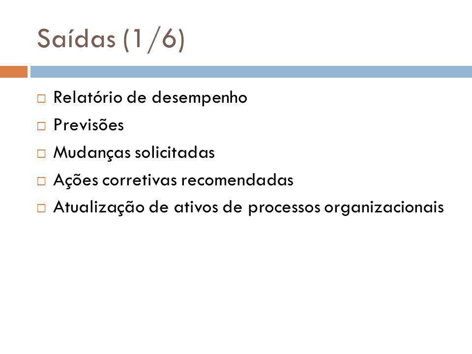 Saídas (1/6)  Relatório de desempenho  Previsões  Mudanças solicitadas  Ações corretivas recomendadas  Atualização de ativos de processos organizacionais