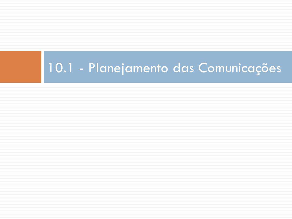Entrada  Plano de gerenciamento das comunicações.