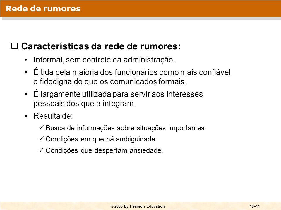 © 2006 by Pearson Education10–11  Características da rede de rumores: Informal, sem controle da administração. É tida pela maioria dos funcionários c
