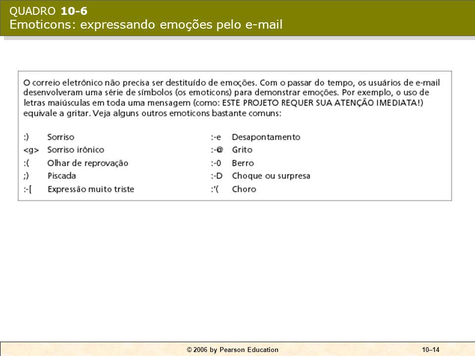 © 2006 by Pearson Education10–14 QUADRO 10-6 Emoticons: expressando emoções pelo e-mail