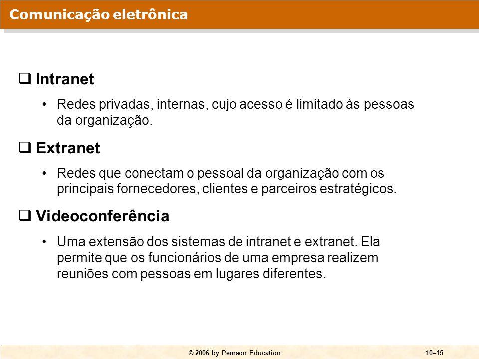 © 2006 by Pearson Education10–15  Intranet Redes privadas, internas, cujo acesso é limitado às pessoas da organização.  Extranet Redes que conectam