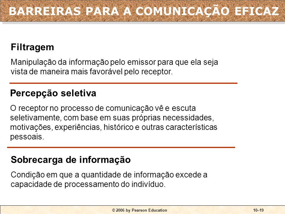 © 2006 by Pearson Education10–19 Filtragem Manipulação da informação pelo emissor para que ela seja vista de maneira mais favorável pelo receptor. Per