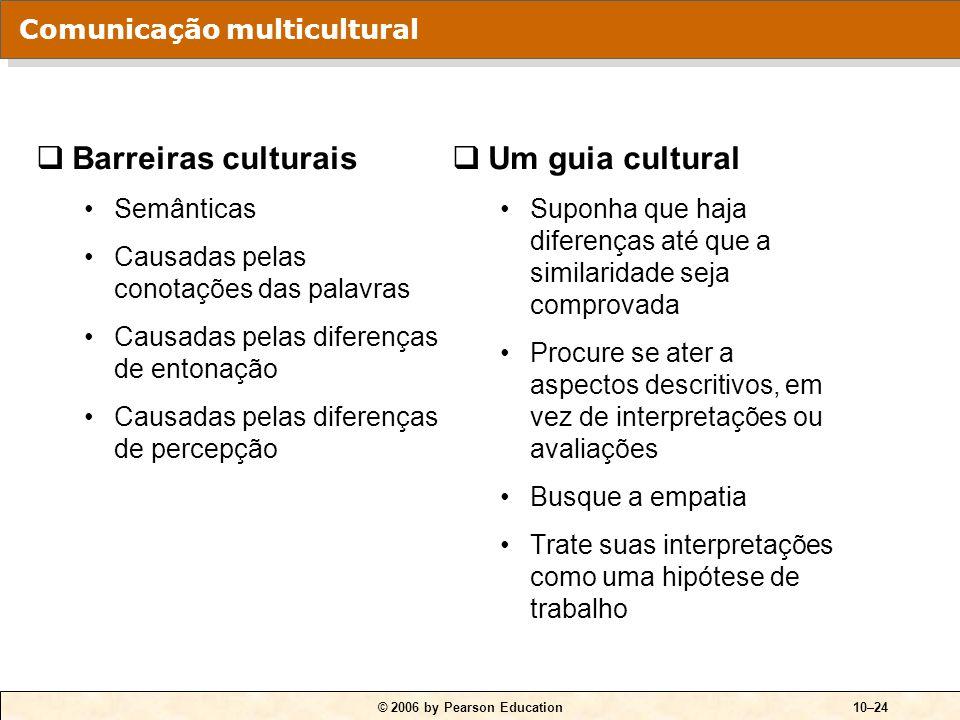 © 2006 by Pearson Education10–24  Barreiras culturais Semânticas Causadas pelas conotações das palavras Causadas pelas diferenças de entonação Causad
