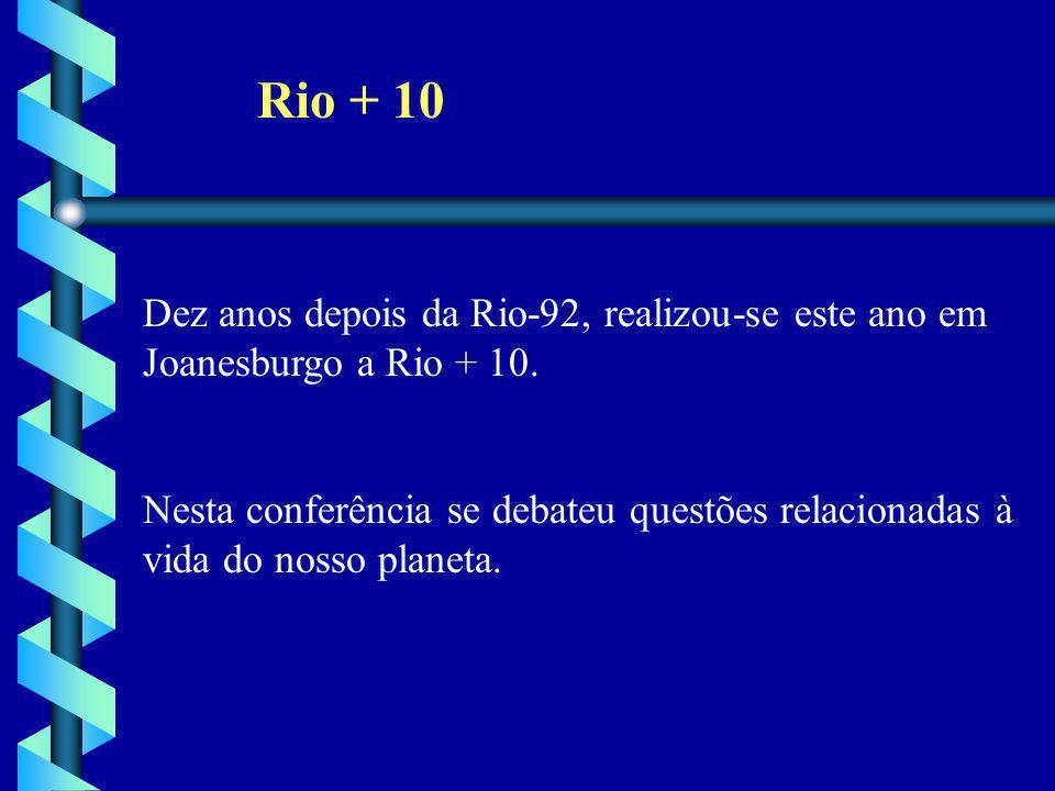 Rio + 10 Dez anos depois da Rio-92, realizou-se este ano em Joanesburgo a Rio + 10. Nesta conferência se debateu questões relacionadas à vida do nosso