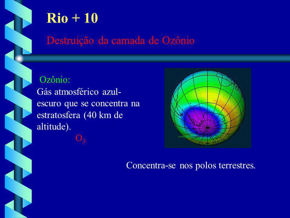 Rio + 10 Destruição da camada de Ozônio Ozônio: Gás atmosférico azul- escuro que se concentra na estratosfera (40 km de altitude). O 3 Concentra-se no