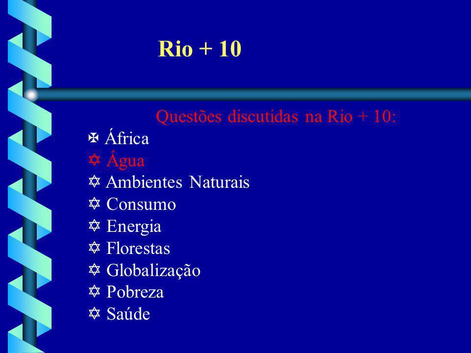 Rio + 10 Questões discutidas na Rio + 10: X África Y Água Y Ambientes Naturais Y Consumo Y Energia Y Florestas Y Globalização Y Pobreza Y Saúde