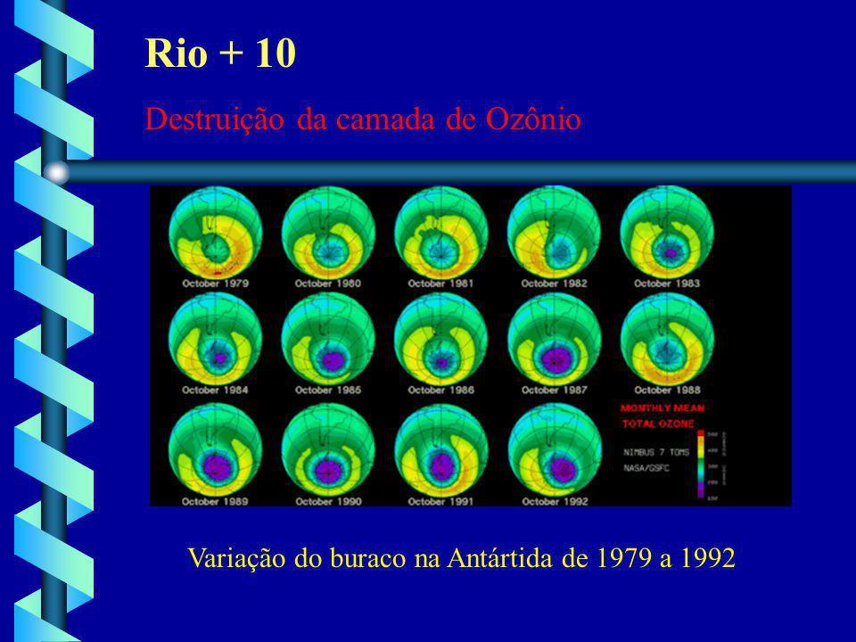 Variação do buraco na Antártida de 1979 a 1992 Rio + 10 Destruição da camada de Ozônio