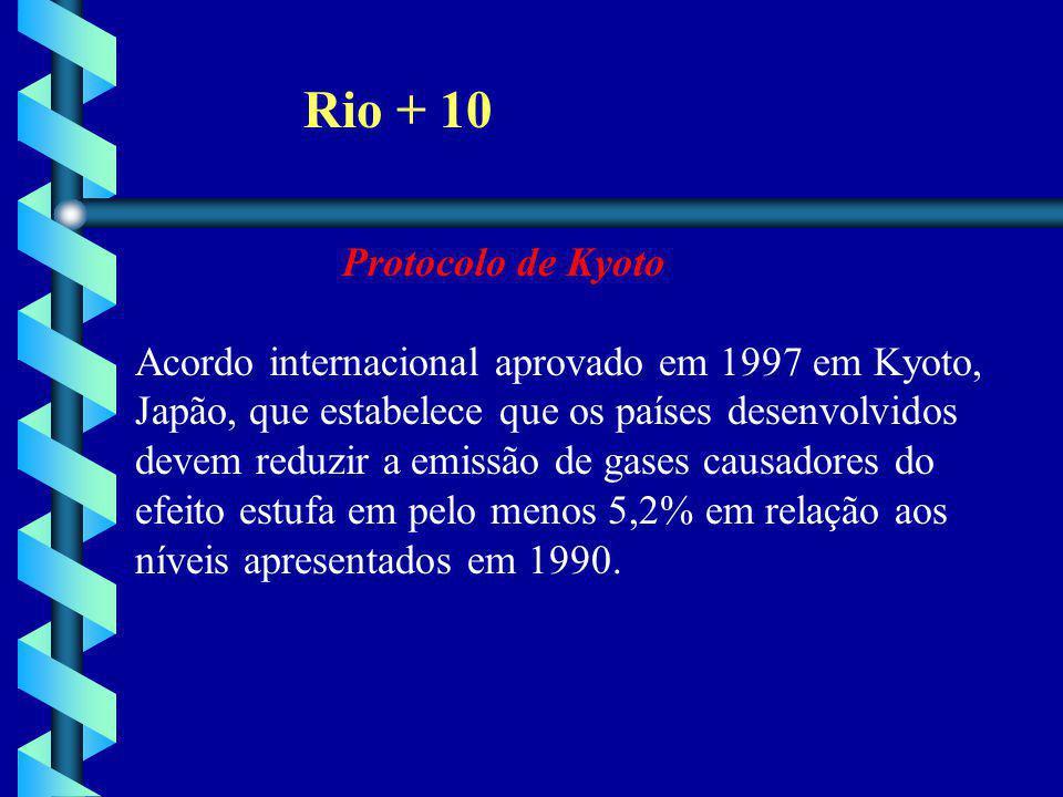 Rio + 10 Protocolo de Kyoto Acordo internacional aprovado em 1997 em Kyoto, Japão, que estabelece que os países desenvolvidos devem reduzir a emissão