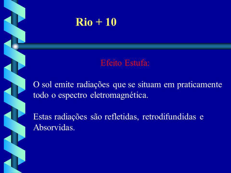 Rio + 10 Efeito Estufa: O sol emite radiações que se situam em praticamente todo o espectro eletromagnética. Estas radiações são refletidas, retrodifu