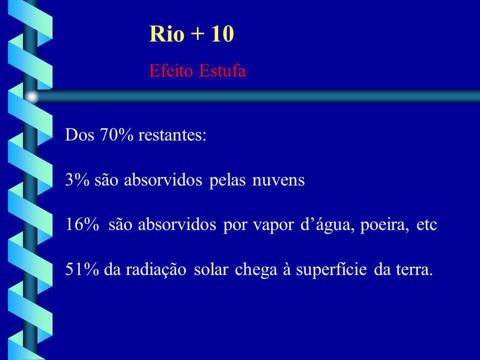 Rio + 10 Efeito Estufa Dos 70% restantes: 3% são absorvidos pelas nuvens 16% são absorvidos por vapor d'água, poeira, etc 51% da radiação solar chega