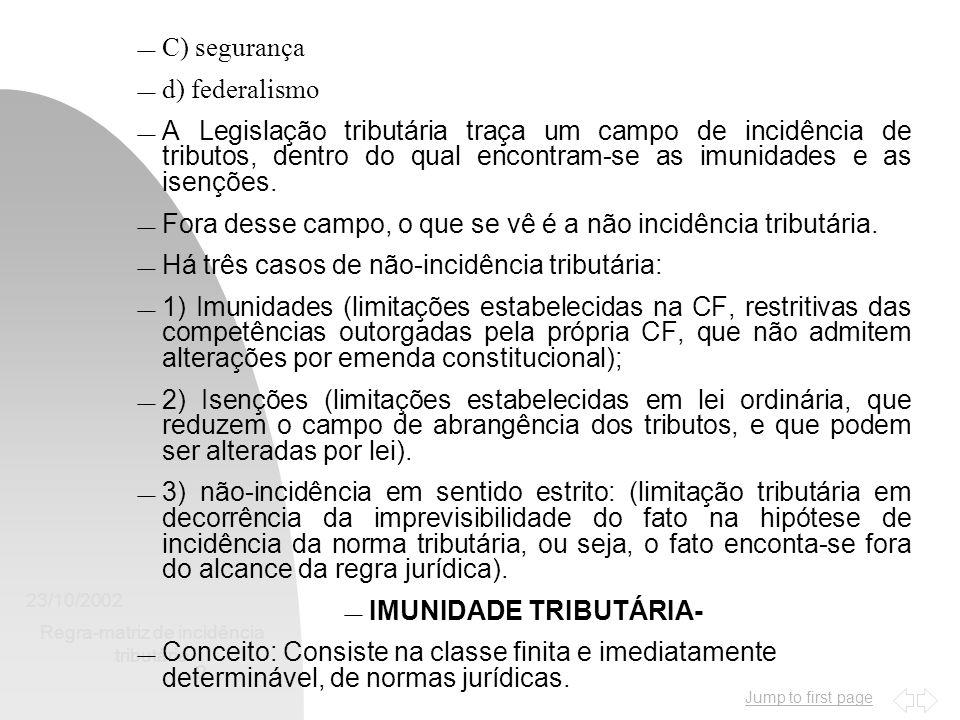 Jump to first page 23/10/2002 Regra-matriz de incidência tributária 2  C) segurança  d) federalismo  A Legislação tributária traça um campo de incidência de tributos, dentro do qual encontram-se as imunidades e as isenções.