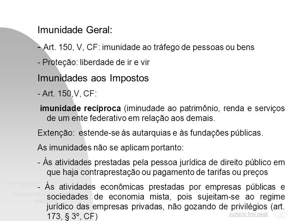 Jump to first page 23/10/2002 Regra-matriz de incidência tributária 4 Imunidade Geral: - Art. 150, V, CF: imunidade ao tráfego de pessoas ou bens - Pr