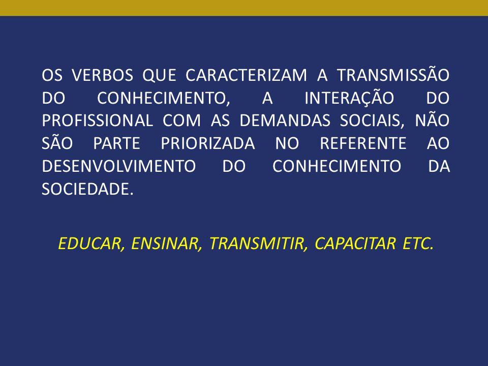 OS VERBOS QUE CARACTERIZAM A TRANSMISSÃO DO CONHECIMENTO, A INTERAÇÃO DO PROFISSIONAL COM AS DEMANDAS SOCIAIS, NÃO SÃO PARTE PRIORIZADA NO REFERENTE AO DESENVOLVIMENTO DO CONHECIMENTO DA SOCIEDADE.