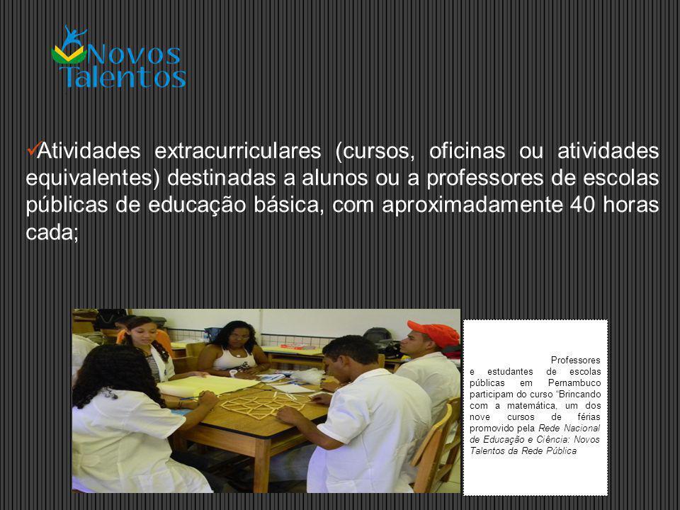 Atividades extracurriculares (cursos, oficinas ou atividades equivalentes) destinadas a alunos ou a professores de escolas públicas de educação básica