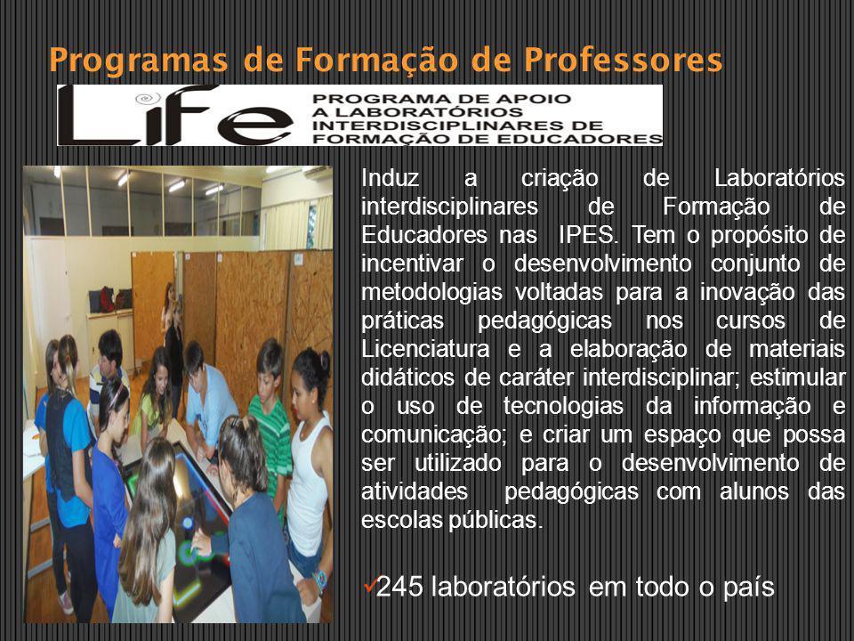 Programas de Formação de Professores Induz a criação de Laboratórios interdisciplinares de Formação de Educadores nas IPES. Tem o propósito de incenti